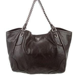 Metallic Cacao Cervo Lux leather Prada hobo bag
